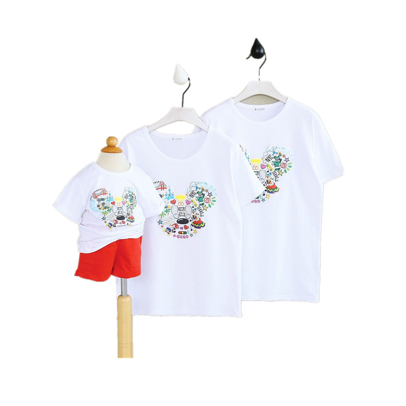 Children family matching outfits cotton T-shirt 2017 summer new boys and girls washed cotton short sleeved T-shirt