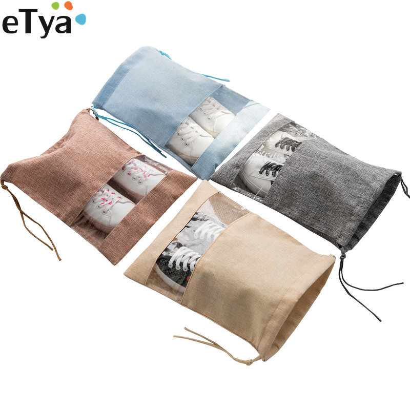 ETya Travel Suitcase Drawstring Shoes Bags Organizer Women Men Dustproof Cover Shoes Bags Travel Cosmetic Cloth Bags Pouch