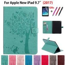 Patrón de árbol de alta calidad pu del soporte del cuero case para apple nuevo ipad 9.7 2017 casos cubierta a1822 funda tablet shell + film + pluma