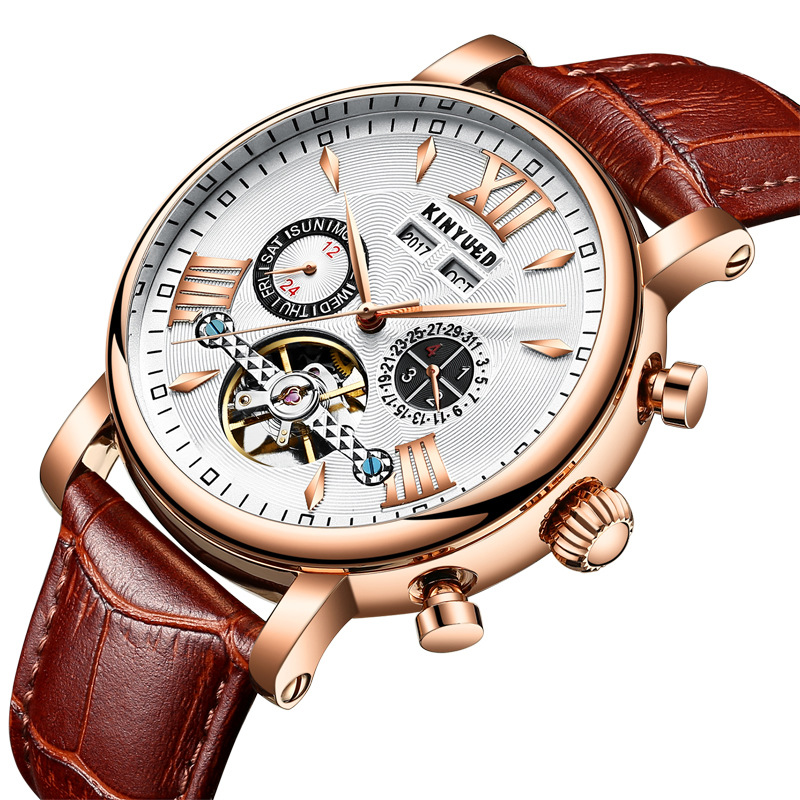 Kinyued Skeleton Tourbillon Mechanical Watch Automatic Men Classic Male Gold Dial Leather Mechanical Wrist Watches J017P-1 цена