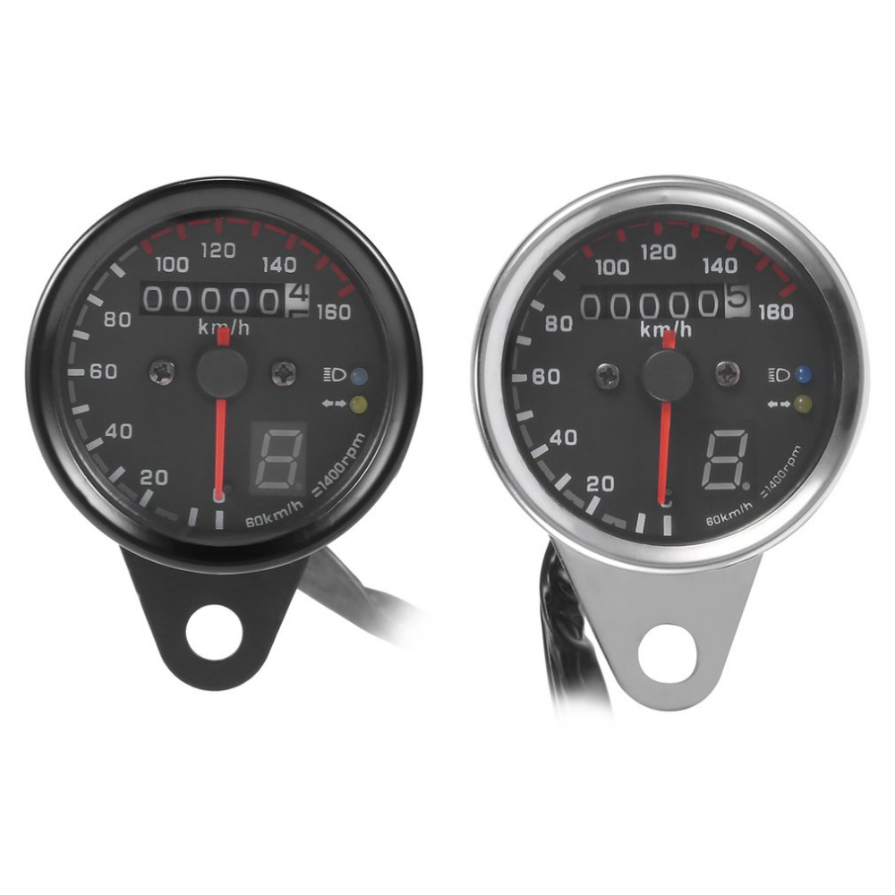 New Universal Motorcycle Dual Odometer Speedometer Gauge 0