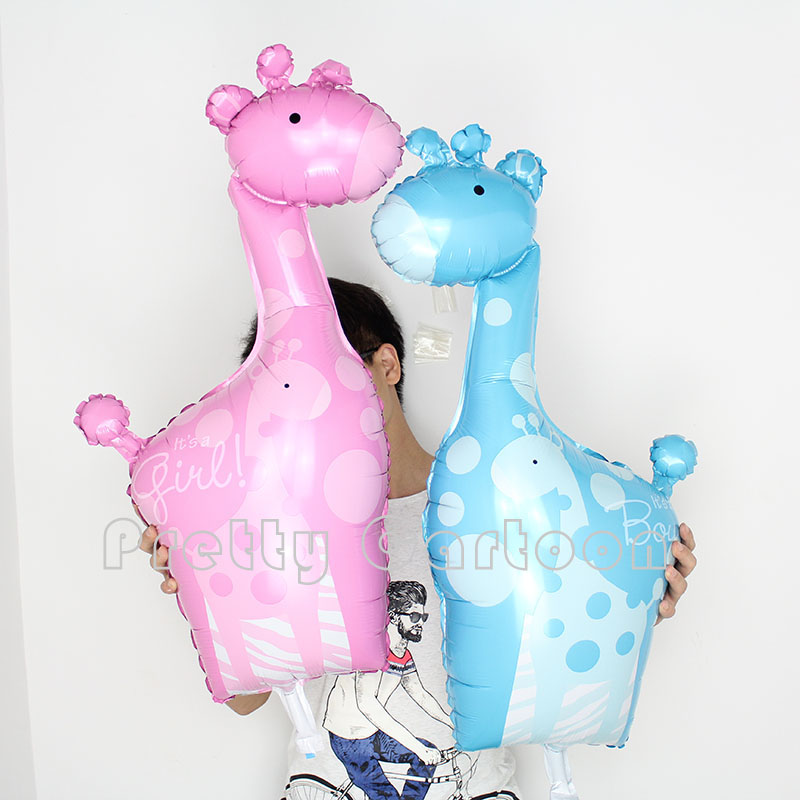10pcs/lot Baby Boy&baby girl Giraffe Foil Balloons Animal It's a Boy/girl Baby S