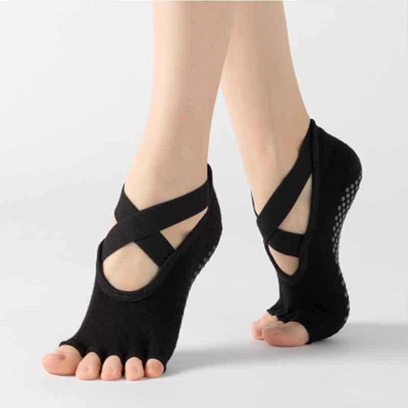 ①  2 пары спинки женские йога носки нескользящие пять пальцев хлопок удобные дышащие пилатес балетные н ✔
