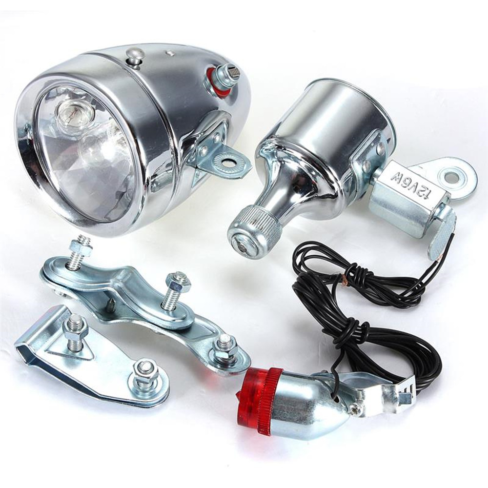 ФОТО Bicycle Motorized Bike Friction Generator Dynamo Headlight Tail Light Kit 12V 6W