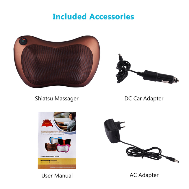 4/8 Rollers Car Home Electric Kneading Massage Pillow Cervical Shoulder Back Cervical Lumbar Neck Massager Body Relax Device 4