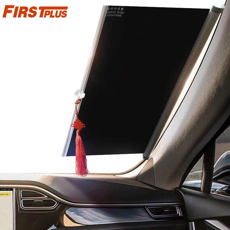 1450mm retráctil parasol de parabrisas de coche sol sombra frontal Auto ventana trasera persianas el sol anti UV sombrillas en forma de abanico Protector para volante de coche FORAUTO, fundas de cuero de PU antideslizantes y transpirables, adecuado para decoración de automóvil de fibra de carbono de 37-38cm