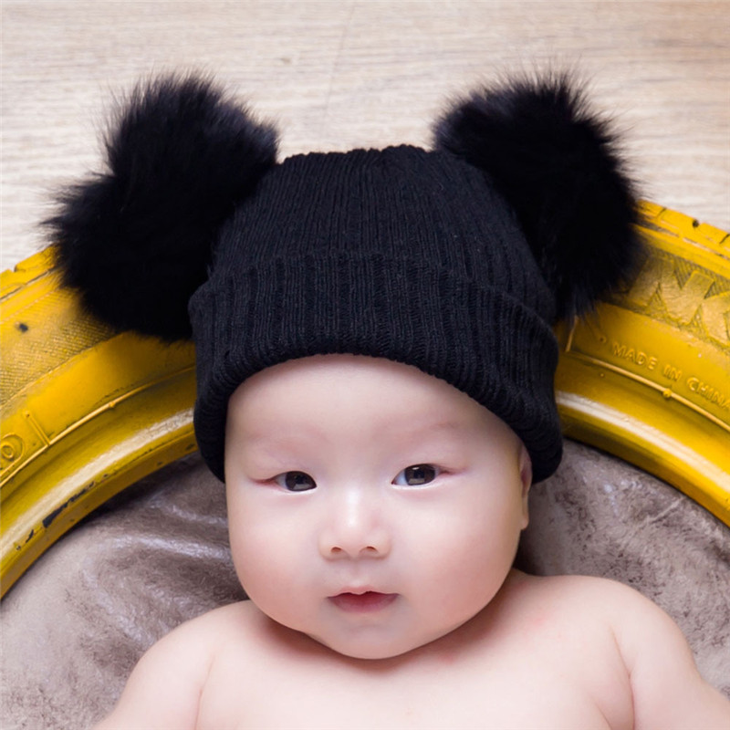 2017 autumn and winter new childrens wool knit hat real fox hair ball hat baby boy and girl warm ear protection hats beanies