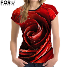 FORUDESIGNS Women Summer Clothing Sexy Rose Printing T shirt Tops Tee Shirt Flower tshirt Breathable Soft for Ladies Girls