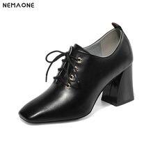 NEMAONE Genuine Leather lace up women pumps Classic Spring Autumn High Heels Women Shoes large size 43
