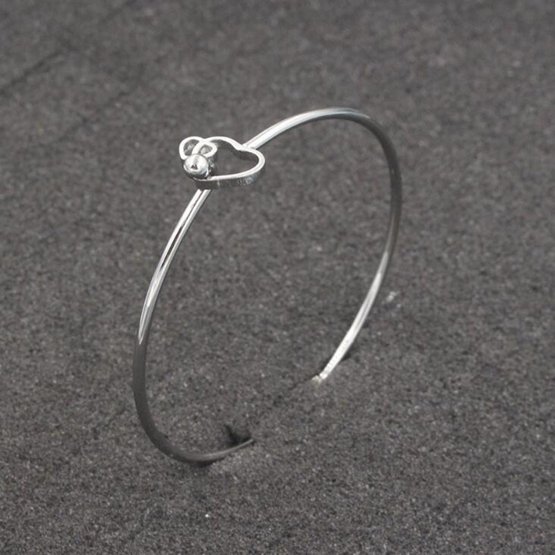 50 stks/partij Rvs 60mm 2mm Dikke Dubbele Harten Armband Manchet Armband Kan Open DIY Sieraden Groothandel-in Armring van Sieraden & accessoires op  Groep 1