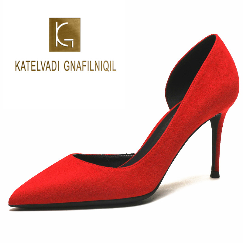KATELVADI 8CM High Heels Pumps Red Flock Side Opening Shoes Women Pumps Office Lady Pointed Toe Wedding Shoes K-367