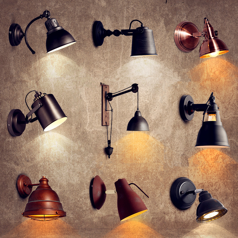 Antique Rustic Retro Vintage Wall Light Fixtures Balcon Style Loft Industrial Wall Sconce LED Stair Lights Appliques Pared