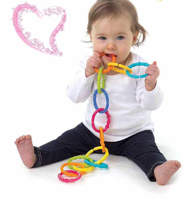 6 unids/set de juguetes de goma mordedor de bebé con forma de mono feliz colorido para niños, coche molar, cama, juguete de mano, Círculo del arco iris Chico, regalo