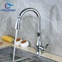 Swivel Spout Polished Chrome Kitchen Faucet Vessel Sink Mixer Tap Deck Mounted Single Handle Hole