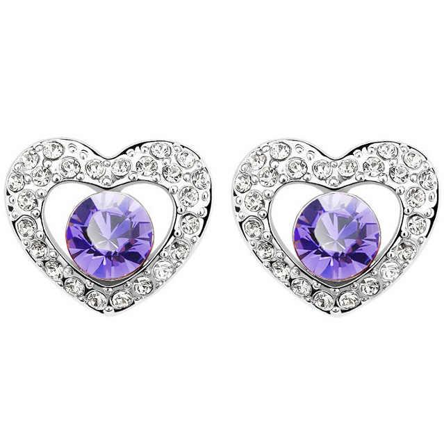 Gratis Drop Pengiriman Rhinestones Pengantin S Kualitas Austria Elemen Kristal Hati Stud Anting-Anting Fashion Perhiasan Wanita Hadiah Yang Indah