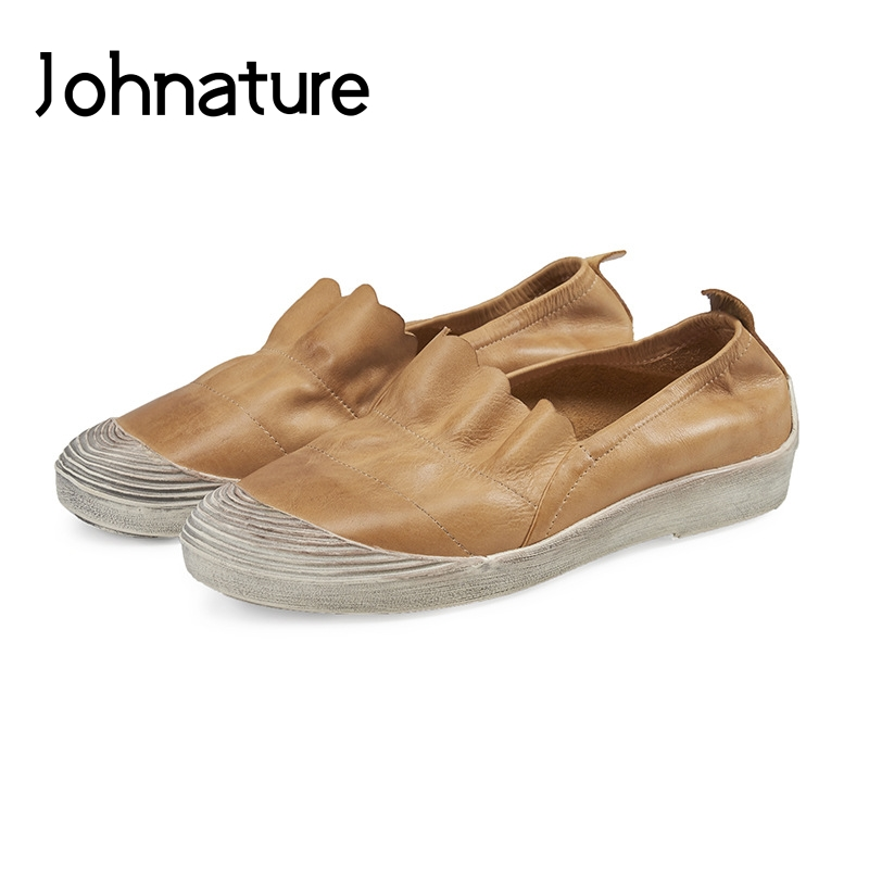 Johnature 2019 New Spring Autumn Genuine Leather Sewing Casual Round Toe Shallow Slip on Fisherman Flat