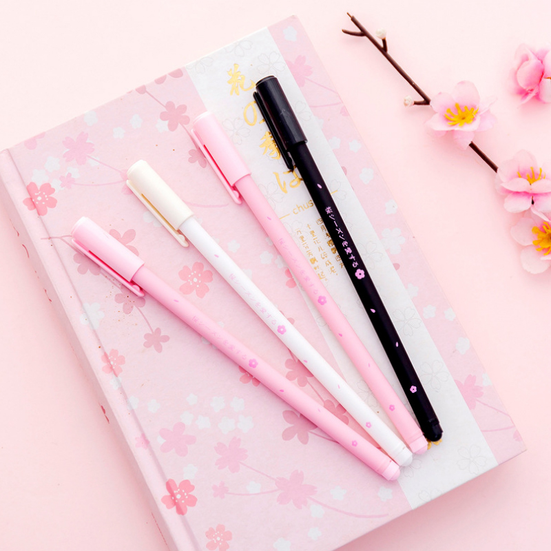 Pink Cherry Blossom Petal Gel Pen Kawaii Stationery Pens Canetas Material Escolar Office Office School Supplies Papelaria