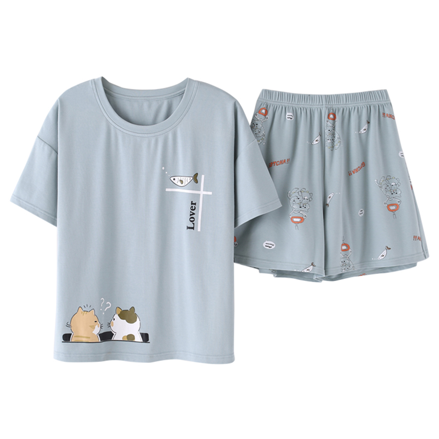 New Summer Cute Cartoon Pajamas Sets Women Sweet Casual O-neck Tops Shorts Sleepwear Nightgowns Cotton High Quality Home Clothes