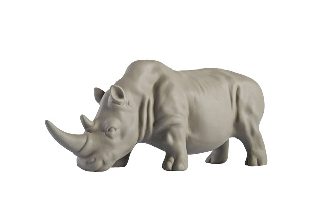 Nordic creative ceramic Rhinoceros statue home decor crafts room decoration objects porcelain animal figurine office ornament in Figurines Miniatures from Home Garden