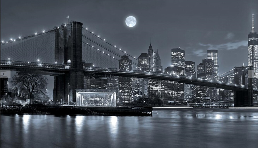 Custom 3d murals, New York City Rivers Bridges Night Moon ...