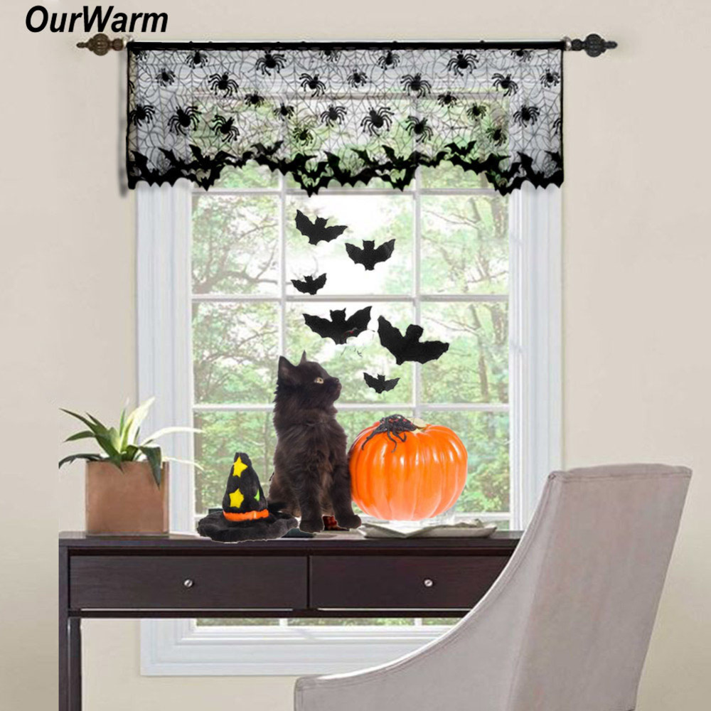 Ourwarm Halloween Curtains Black Lace Bat Spiderweb Window Curtain For Living Room Halloween Decoration Party Supplies 60*20inch