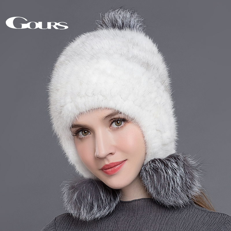 Gours Real Mink Fur Hats for Women Knitted Pom Poms Beanies Fashion Thick Warm In Winter Caps with 3 Fox Fur Balls New Arrival women s cap knitted mink fur hat for women winter warm fashion leather fur headdress beanies russian mom ladies caps