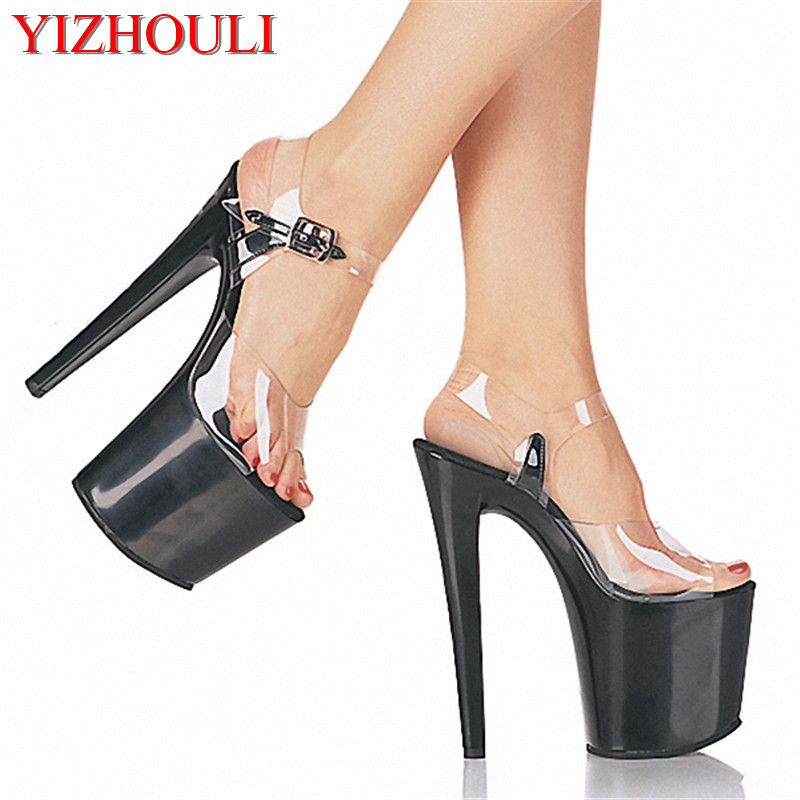 Simple 20cm super high heels waterproof platform sandals with baking paint fashionable plus size women s