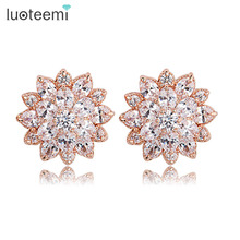 Teemi Rose Pink Gold Plated Luxury Excellent Cut Clear Cubic Zirconia Flower Stud Earrings Women Valentines Day Gift Jewelry
