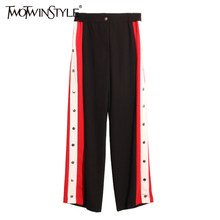TWOTWINSTYLE 2019 Summer Women Straight Trousers Female Striped Pants Big Sizes High Waist Elastic Casual Long Clothes Loose(China)