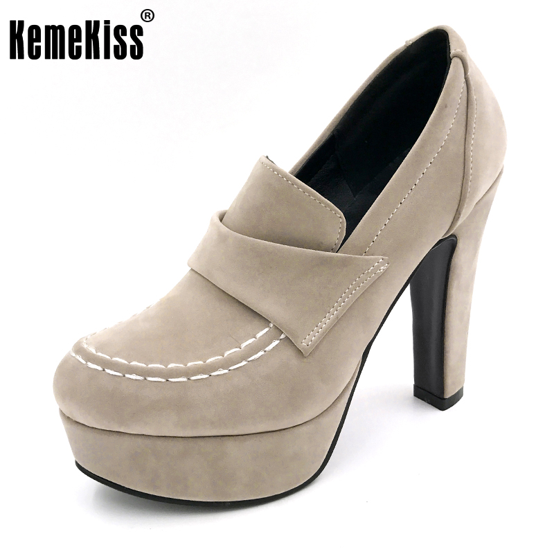 KemeKiss Size 33 43 Ladies Thick High Heel Shoes Women Ankle Platform Heeled Pumps Brand Female