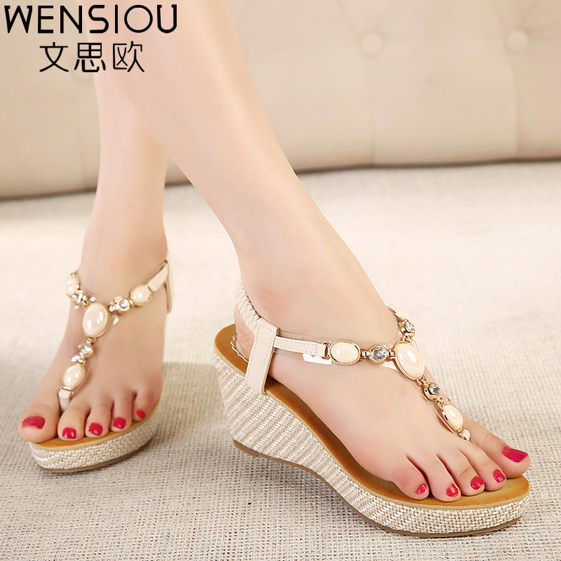 Summer Women Sandals Gladiator Bohemia High Platform Wedges Beach Sandal Flip Flops Casual Shoes Sandals Women 2017 BT533 phyanic 2017 gladiator sandals gold silver shoes woman summer platform wedges glitters creepers casual women shoes phy3323