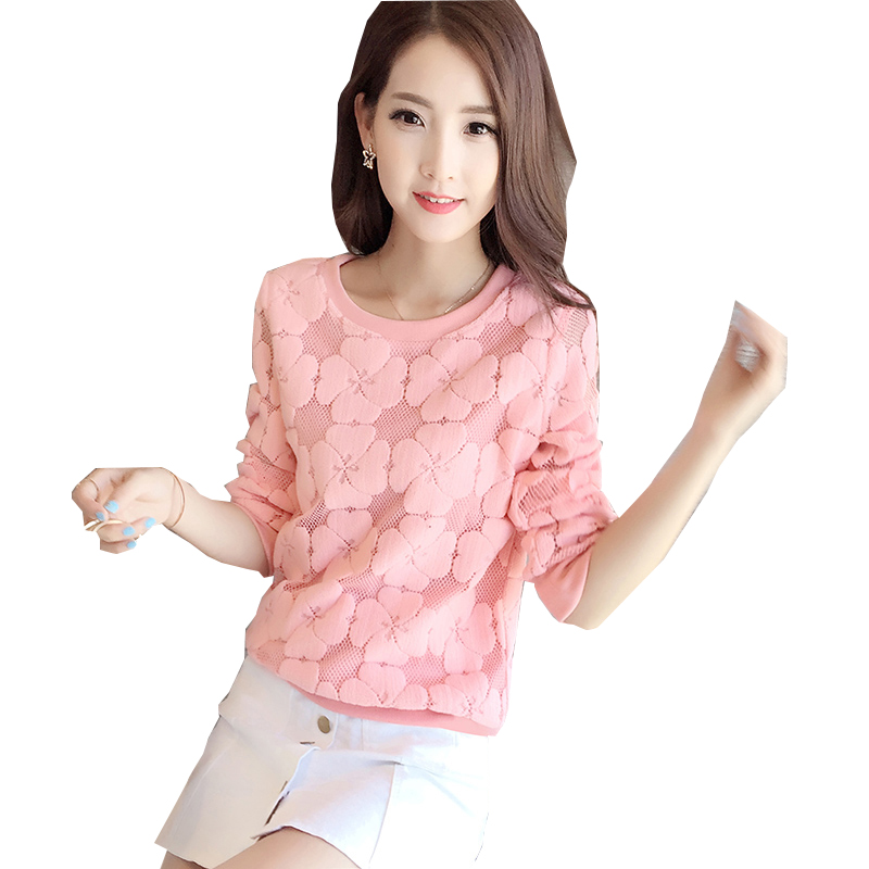 9b96fc807ffbd9 women blouses pink Lace Tops New Elegant Female Long Sleeved Lace Shirt  Sexy Hollow Out Ladies Blouse Plus size Clothing blusas