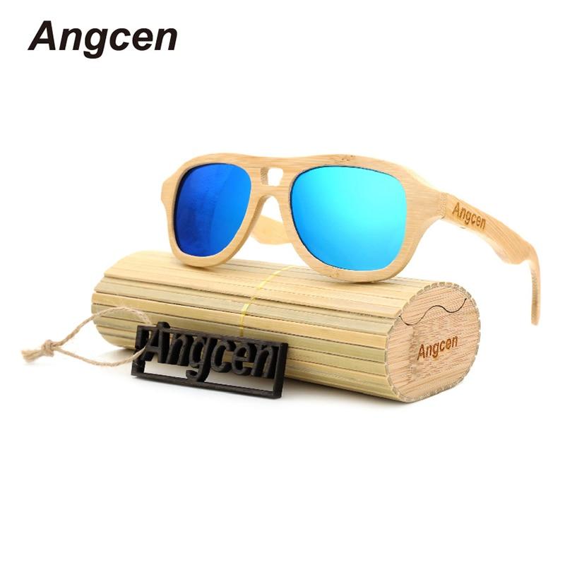 Angcen Unisex saules brilles vīriešiem un sievietēm Bambusa saulesbrilles Polarizētās dāmas Pilot saulesbrilles augstas kvalitātes zīmola dizainere