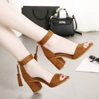 Women Summer Style Black Brown Sexy Fringe Tassel Suede Leather Peep Toe Elastic Band Square High