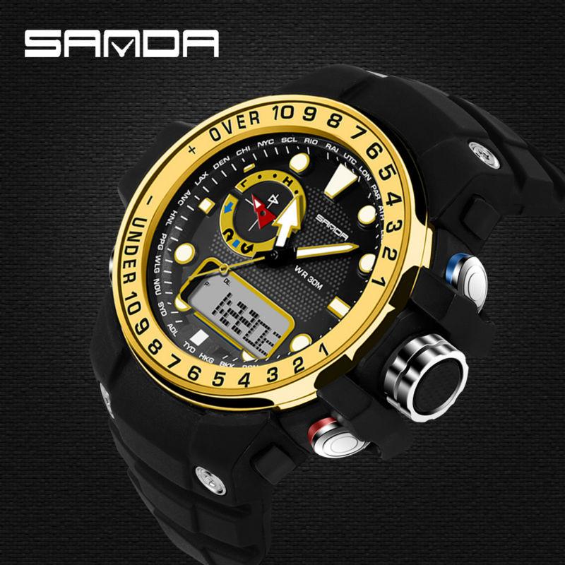 Top Brand High Quality Men Women Fashion Big Watch Dial Waterproof Dual Time Digital Sports Wristwatches Relojes Deportivos