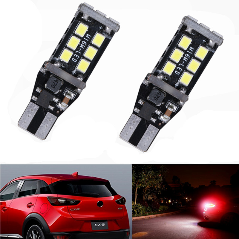 2PCS Auto LED Bulbs Canbus Error Free White T15 W16W Car LED Lamps For Mazda cx-3 cx3 accessories 2015 Backup Reverse Light 12v deechooll 2pcs wedge light for mazda 2 3 5 6 mx5 rx8 cx7 626 gf gg ge gw canbus t10 57smd 6w led clearance xenon lighting bulbs