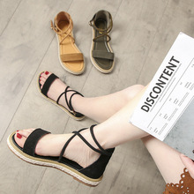 Leather sandals female 2019 new students Rome Europe and America wind flat large size womens shoes