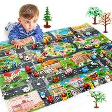 Детский игровой коврик, напольная игра, детский коврик для ползания, 130*100 см, водонепроницаемый, для детей, динозавр, городской автомобиль, парковка, дорожные Игрушки для мальчиков
