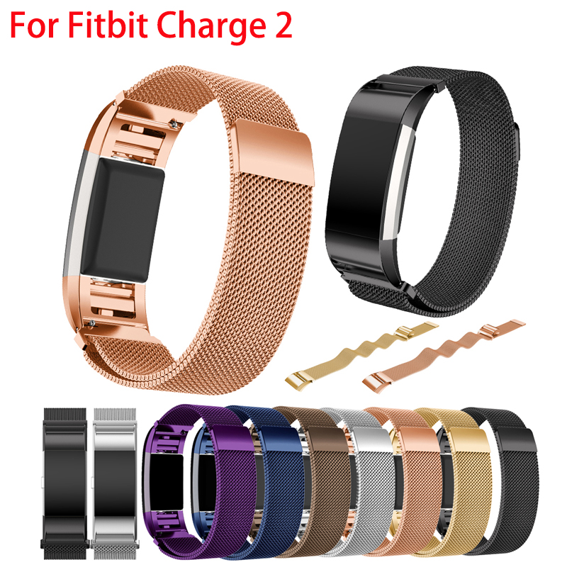 Milanese Loop strap for Fitbit Charge 2 band Magnetic wristband replacement Link Bracelet Stainless Steel smartwatch Band