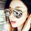 Novo Piloto da Moda Oversized Sunglasses Mulheres Steampunk Do Vintage Óculos de Metal Duplo-Beam Marca Designer Óculos de Sol Feminino Óculos