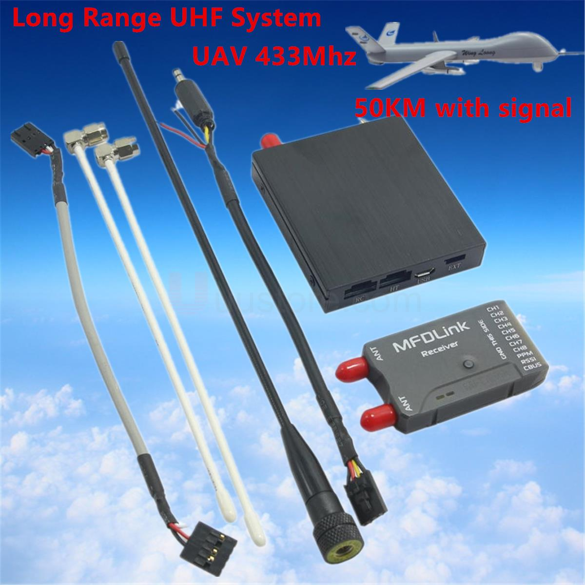50KM Long Range MFDLink Rlink 433Mhz 16CH 1W RC FPV UHF System Transmitter w/8 Channel Receiver TX+RX Set For high fpv quality 50km long range mfdlink rlink 433mhz 16ch 1w fpv uhf system transmitter w 8 channel receiver tx rx set