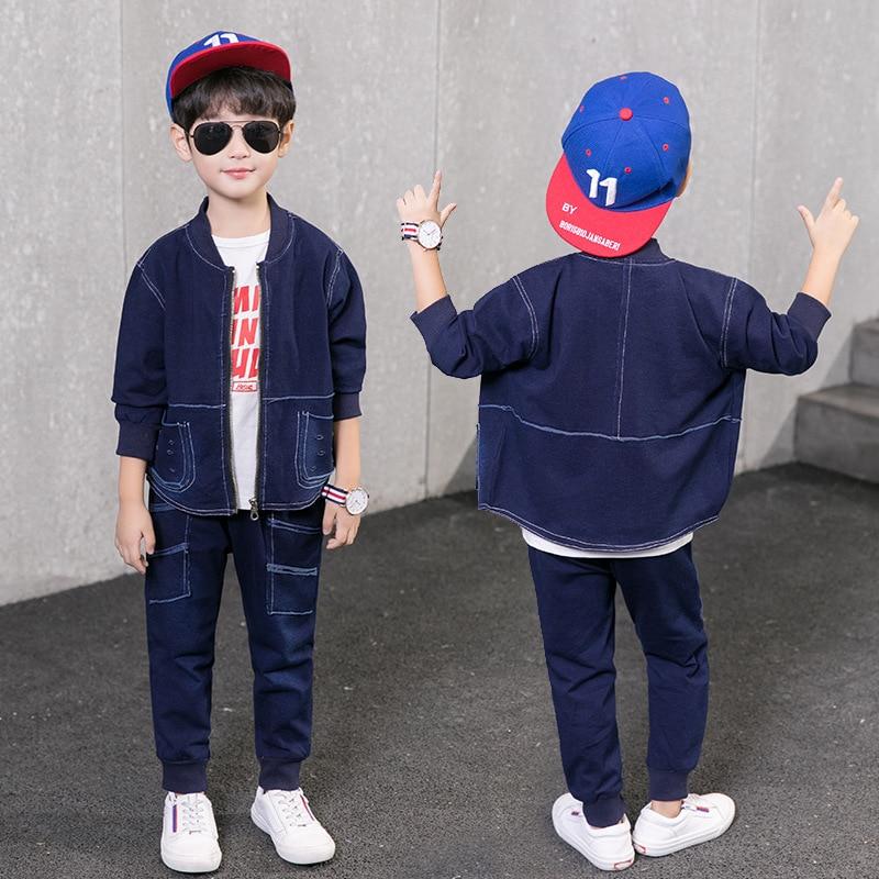 2pcs Blue Boys Jacket & Boys Jeans Clothing Set Boy Denim Outerwear Pants for 4 6 8 10 12 Year Old 2018 Kid Boys Clothes 185008 2018 new cartoon boys clothing sets 2pcs denim jacket