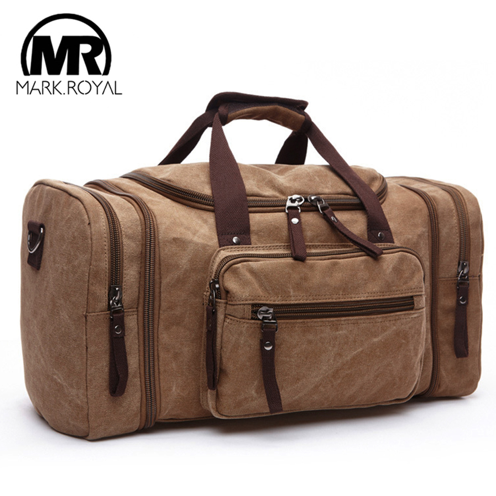 MARKROYAL Mens Canvas Travel Bags Large Capacity Luggage Bags Hanging Travel Bags Carry On Travel Duffle Bags Overnight Soft