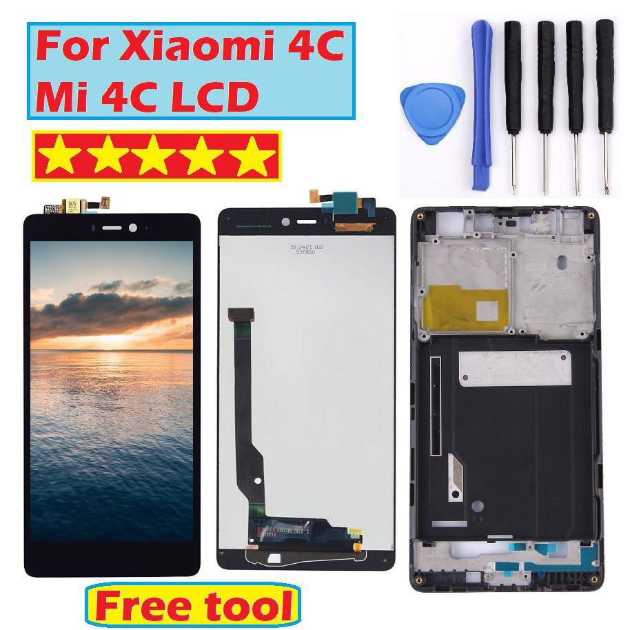 Testati Al 100% di Lavoro Display LCD Touch Screen Digitizer Assembly con Telaio Per Xiao mi mi 4c mi 4c M4c del telefono sostituire Le Parti