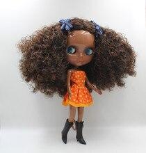 Blygirl Blyth poupéeDark brun explosion ondulée nouvelle peau bébé corps général 7 joint peau noire profonde poupée bricolage peut changer le maquillage