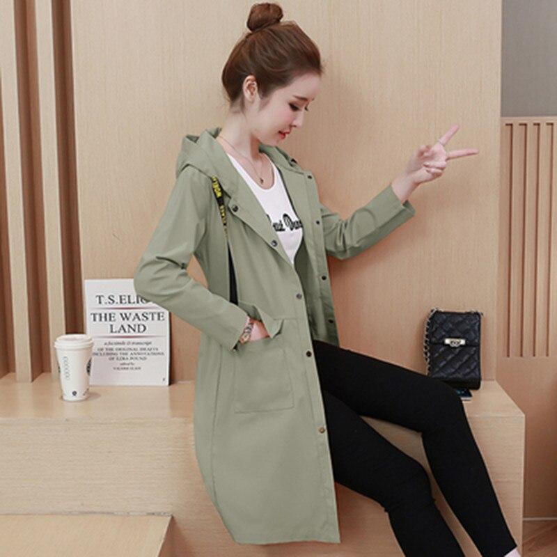 Spring Autumn Fashion Long Trench Coat Women Hooded Single-breasted Thin Windbreaker 2019 Female Korean Casual Elegant Overcoat 30