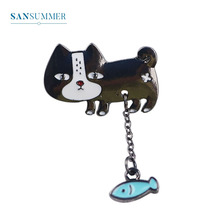 Sansummer New Hot Fashion Cute Cat Pendant Chain Fish Boat Cartoon Youth girl Exquisite Brooch For Women Jewelry 396