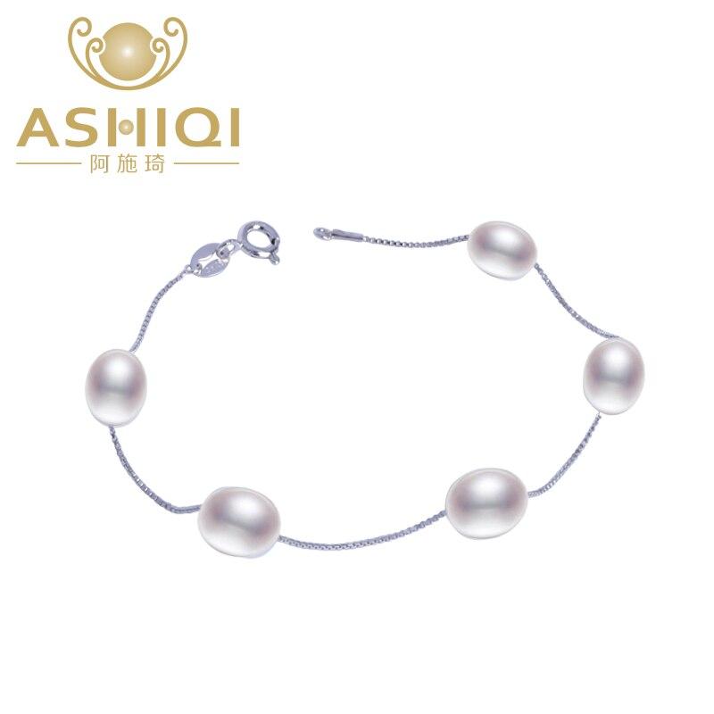 ASHIQI Natural freshwater pearl bracelet Genuine 925 Sterling Silver Bracelet for women charm pulseiras femininas