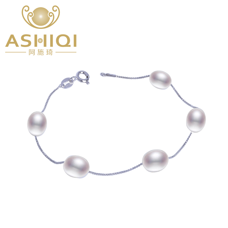Ashiqi Pure Freshwater Pearl Bracelet Real 925 Sterling Silver Bracelet For Ladies Attraction Pulseiras Femininas