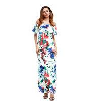 Zrujnuje Moda Floral Maxi Sukienki Sexy Potargane Szyi Proste Czeski Long Krótkim Rękawem Flower Print Summer Party Sukienka Boho